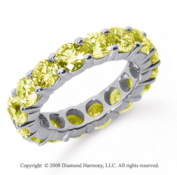 5 Carat Yellow Sapphire Platinum Round Eternity Band