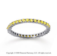 1/2 Carat Yellow Sapphire 14k White Gold Round Eternity Band
