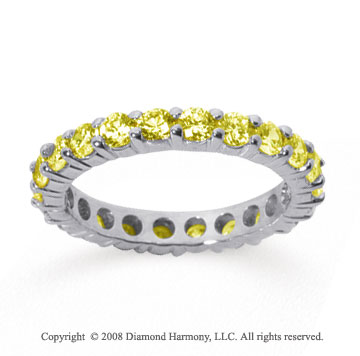 1 1/2 Carat Yellow Sapphire 14k White Gold Round Eternity Band