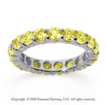 3 Carat Yellow Sapphire 14k White Gold Round Eternity Band