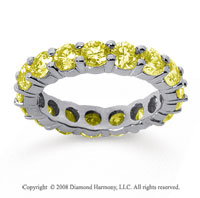 3 1/2 Carat Yellow Sapphire 14k White Gold Round Eternity Band