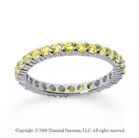 1 Carat Yellow Sapphire 18k White Gold Round Eternity Band