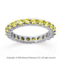 2 Carat Yellow Sapphire 18k White Gold Round Eternity Band
