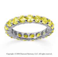 3 Carat Yellow Sapphire 18k White Gold Round Eternity Band
