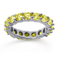 3 1/2 Carat Yellow Sapphire 18k White Gold Round Eternity Band