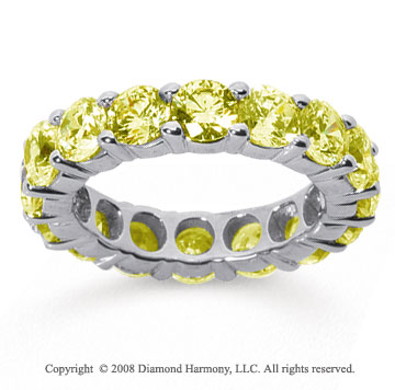 5 Carat Yellow Sapphire 18k White Gold Round Eternity Band