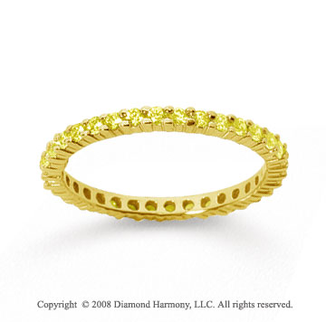 1/2 Carat Yellow Sapphire 14k Yellow Gold Round Eternity Band