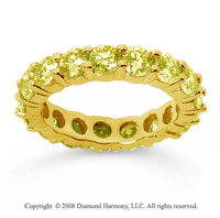 3 1/2 Carat Yellow Sapphire 14k Yellow Gold Round Eternity Band
