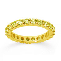 2 Carat Yellow Sapphire 18k Yellow Gold Round Eternity Band