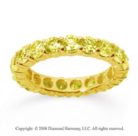 3 Carat Yellow Sapphire 18k Yellow Gold Round Eternity Band