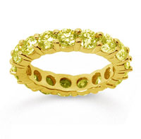 3 1/2 Carat Yellow Sapphire 18k Yellow Gold Round Eternity Band