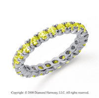 1 Carat Yellow Sapphire Platinum Round Four Prong Eternity Band