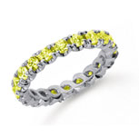 1 1/2 Carat Yellow Sapphire Platinum Four Prong Eternity Band