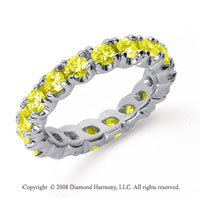 2 Carat Yellow Sapphire Platinum Round Four Prong Eternity Band