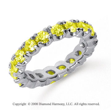 2 1/2 Carat Yellow Sapphire Platinum Four Prong Eternity Band