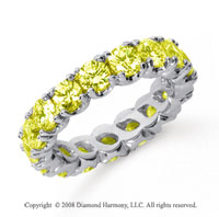 3 Carat Yellow Sapphire Platinum Round Four Prong Eternity Band