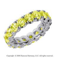 4 1/2 Carat Yellow Sapphire Platinum Four Prong Eternity Band