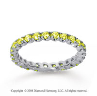 3/4 Carat Yellow Sapphire 14k White Gold Round Four Prong Eternity Band