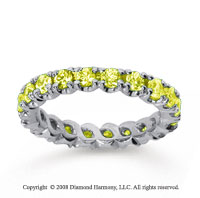 1 1/2 Carat Yellow Sapphire 14k White Gold Round Four Prong Eternity Band