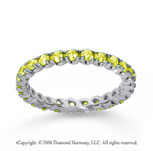 3/4 Carat Yellow Sapphire 18k White Gold Round Four Prong Eternity Band