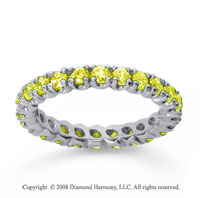 1 Carat Yellow Sapphire 18k White Gold Round Four Prong Eternity Band