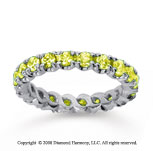 1 1/2 Carat Yellow Sapphire 18k White Gold Round Four Prong Eternity Band