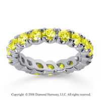 2 Carat Yellow Sapphire 18k White Gold Round Four Prong Eternity Band
