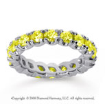 2 1/2 Carat Yellow Sapphire 18k White Gold Round Four Prong Eternity Band