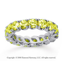 3 1/2 Carat Yellow Sapphire 18k White Gold Round Four Prong Eternity Band