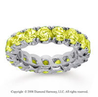 4 1/2 Carat Yellow Sapphire 18k White Gold Round Four Prong Eternity Band