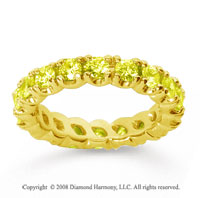 2 1/2 Carat Yellow Sapphire 14k Yellow Gold Round Four Prong Eternity Band