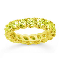 3 Carat Yellow Sapphire 14k Yellow Gold Round Four Prong Eternity Band