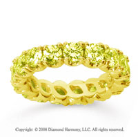 3 1/2 Carat Yellow Sapphire 14k Yellow Gold Round Four Prong Eternity Band