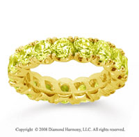 4 1/2 Carat Yellow Sapphire 14k Yellow Gold Round Four Prong Eternity Band
