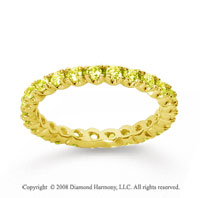 3/4 Carat Yellow Sapphire 18k Yellow Gold Round Four Prong Eternity Band
