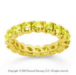 2 1/2 Carat Yellow Sapphire 18k Yellow Gold Round Four Prong Eternity Band