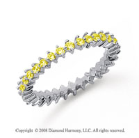 3/5 Carat Yellow Sapphire Platinum Open Prong Eternity Band