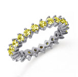 1 1/2Carat Yellow Sapphire Platinum Open Prong Eternity Band