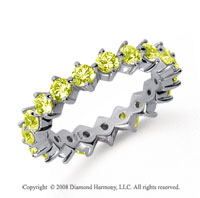 2 Carat Yellow Sapphire Platinum Round Open Prong Eternity Band