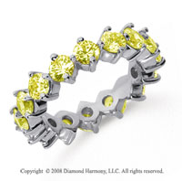 3 Carat Yellow Sapphire Platinum Round Open Prong Eternity Band