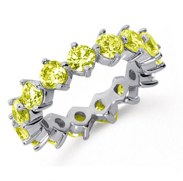 4 Carat Yellow Sapphire Platinum Round Open Prong Eternity Band
