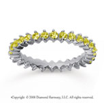 1 Carat Yellow Sapphire 14k White Gold Round Open Prong Eternity Band