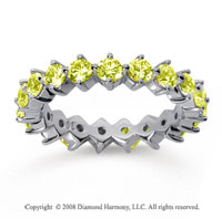 2 Carat Yellow Sapphire 14k White Gold Round Open Prong Eternity Band
