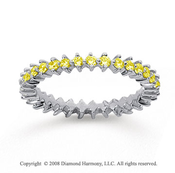 3/5 Carat Yellow Sapphire 18k White Gold Round Open Prong Eternity Band