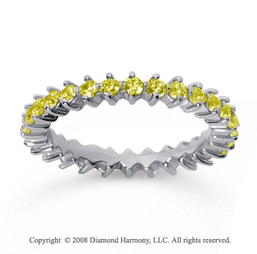 1 Carat Yellow Sapphire 18k White Gold Round Open Prong Eternity Band