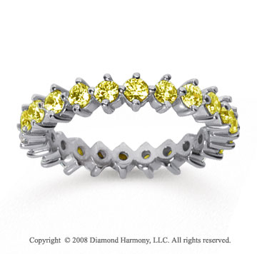 1 1/2Carat Yellow Sapphire 18k White Gold Round Open Prong Eternity Band