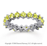 2 Carat Yellow Sapphire 18k White Gold Round Open Prong Eternity Band