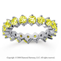 2 1/2Carat Yellow Sapphire 18k White Gold Round Open Prong Eternity Band