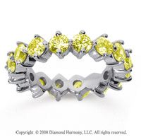 3 1/2Carat Yellow Sapphire 18k White Gold Round Open Prong Eternity Band
