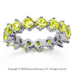 4 Carat Yellow Sapphire 18k White Gold Round Open Prong Eternity Band
